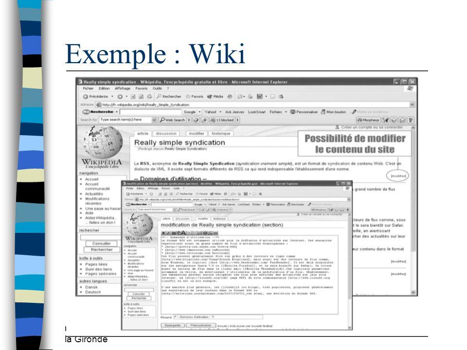Exemple : Wiki mars 2009 CDDP de la Gironde