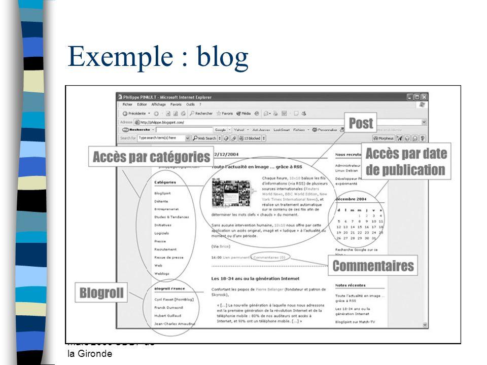 Exemple : blog mars 2009 CDDP de la Gironde
