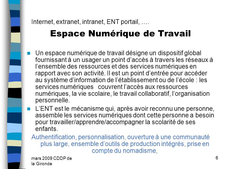 Internet, extranet, intranet, ENT portail, ….