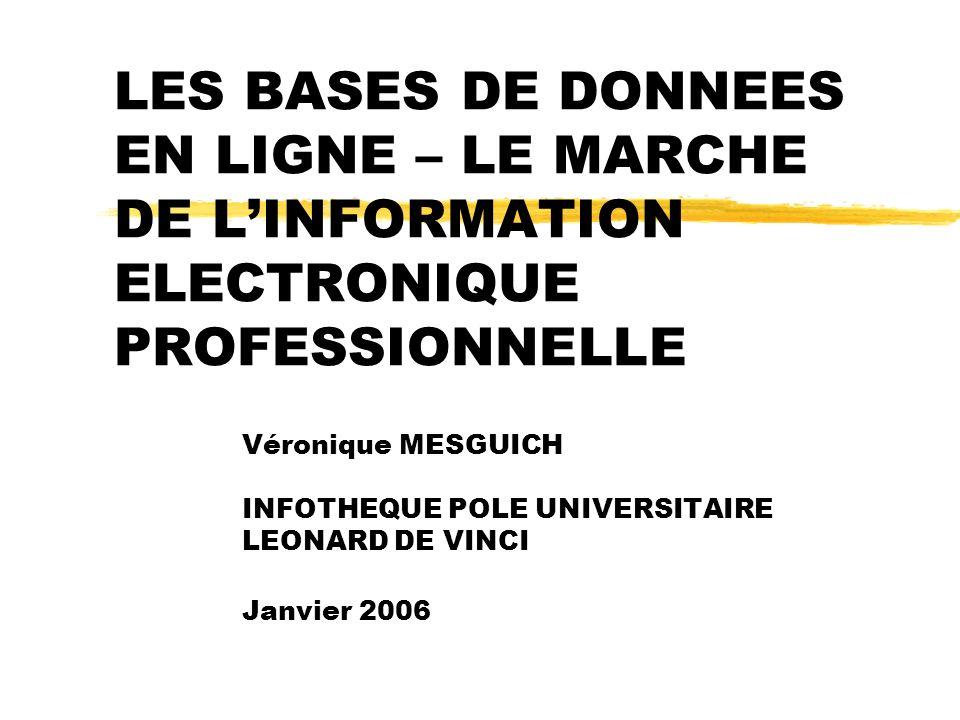 LES BASES DE DONNEES EN LIGNE – LE MARCHE DE L'INFORMATION ELECTRONIQUE PROFESSIONNELLE