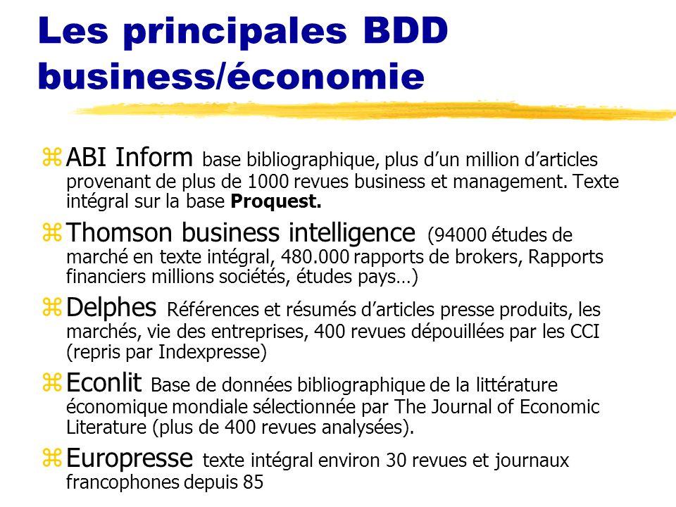 Les principales BDD business/économie
