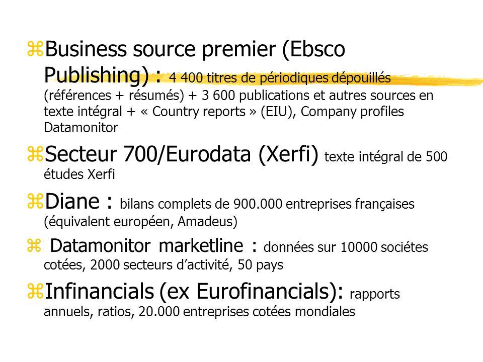 Secteur 700/Eurodata (Xerfi) texte intégral de 500 études Xerfi