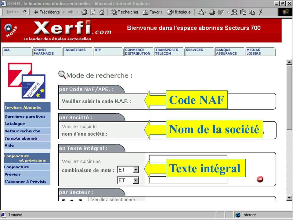 Code NAF Nom de la société Texte intégral