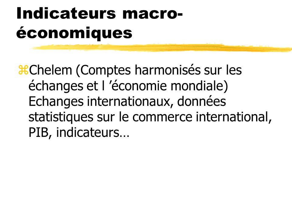 Indicateurs macro-économiques