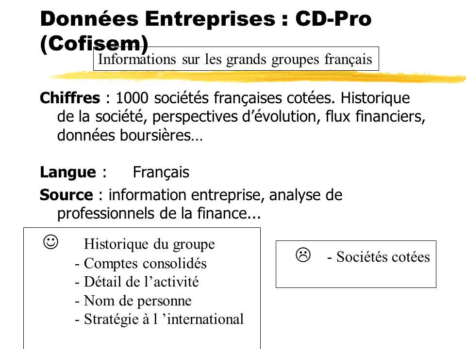 Données Entreprises : CD-Pro (Cofisem)