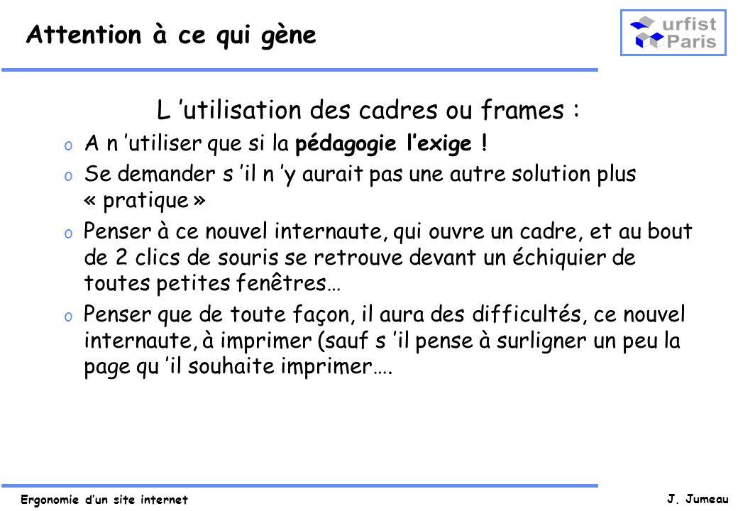 L 'utilisation des cadres ou frames :