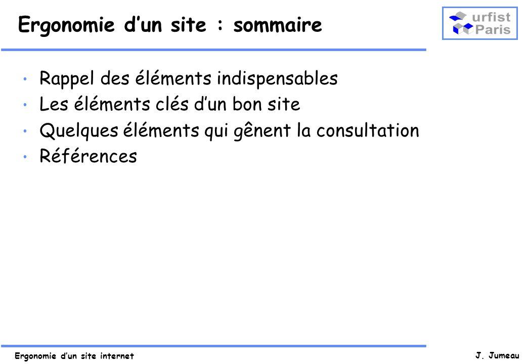 Ergonomie d'un site : sommaire