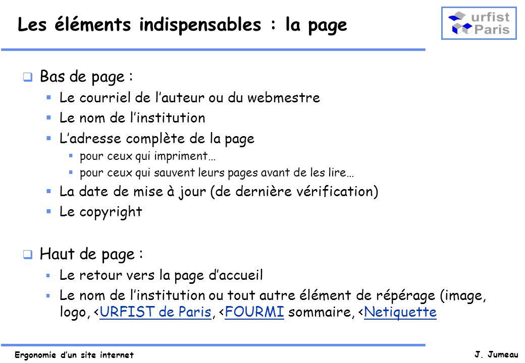 Les éléments indispensables : la page