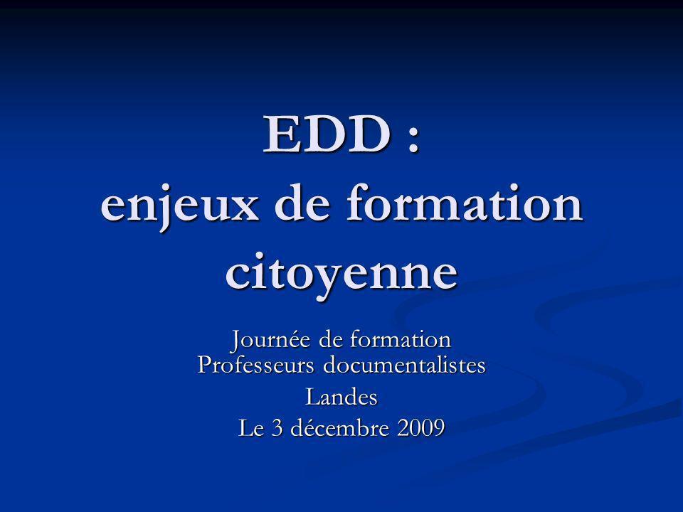 EDD : enjeux de formation citoyenne