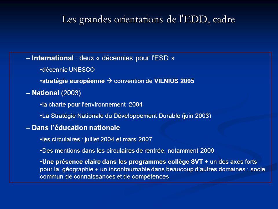 Les grandes orientations de l'EDD, cadre