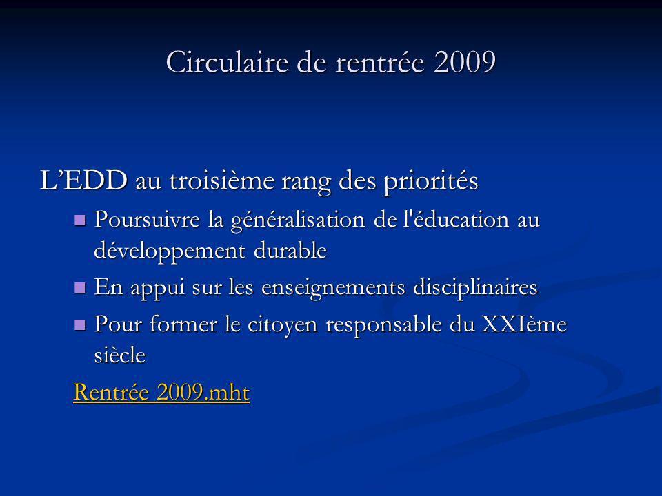 Circulaire de rentrée 2009 L'EDD au troisième rang des priorités