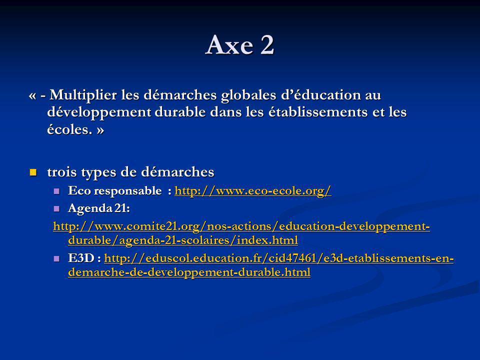 Axe 2 « - Multiplier les démarches globales d'éducation au développement durable dans les établissements et les écoles. »