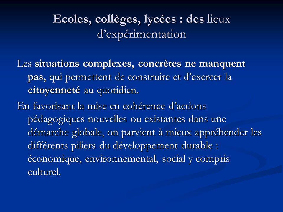 Ecoles, collèges, lycées : des lieux d'expérimentation