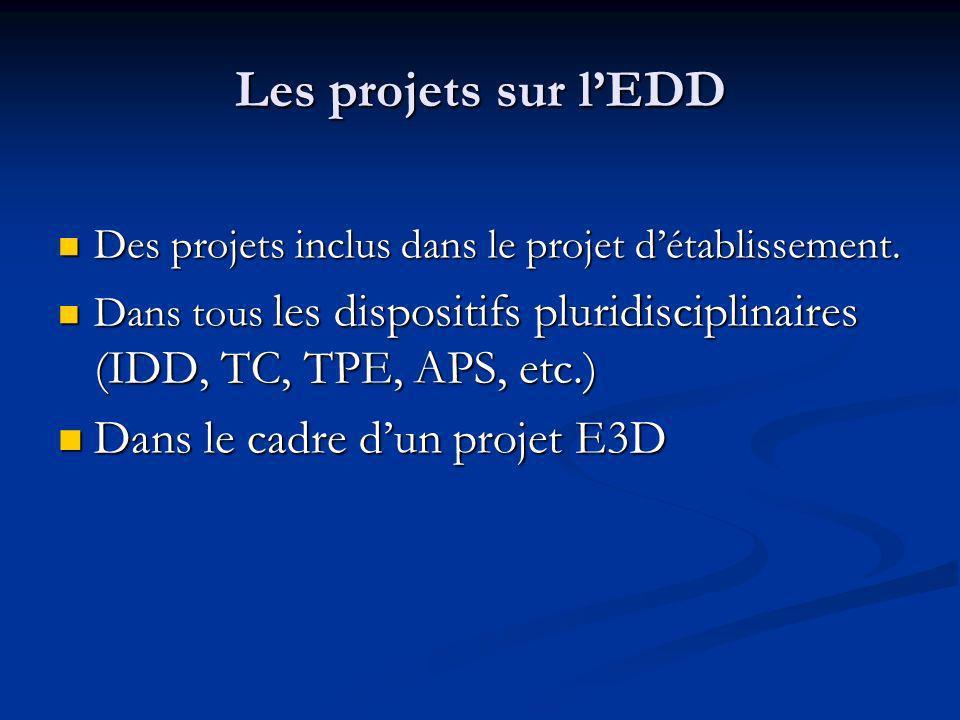 Les projets sur l'EDD Dans le cadre d'un projet E3D