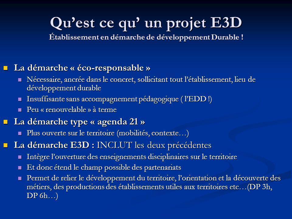 Qu'est ce qu' un projet E3D Établissement en démarche de développement Durable !