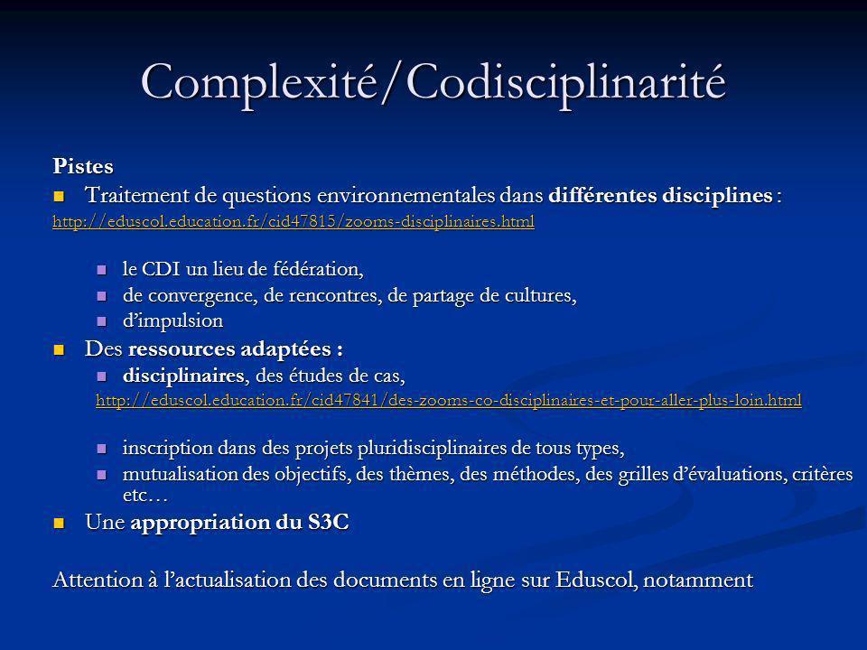 Complexité/Codisciplinarité