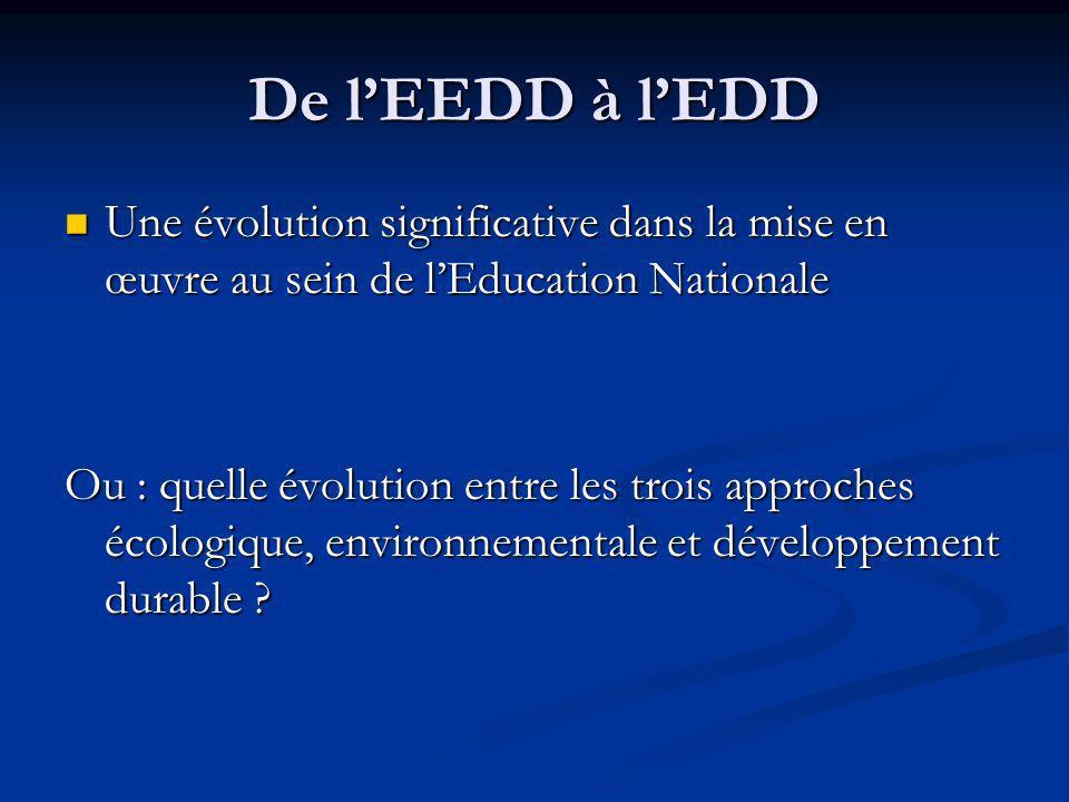 De l'EEDD à l'EDD Une évolution significative dans la mise en œuvre au sein de l'Education Nationale.
