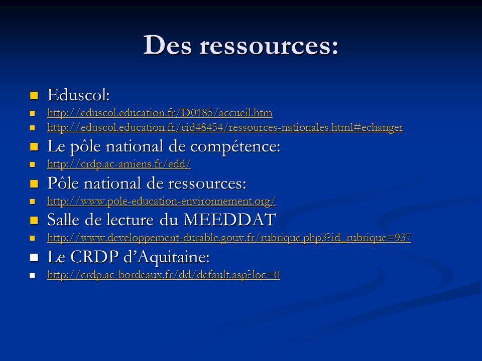 Des ressources: Eduscol: Le pôle national de compétence: