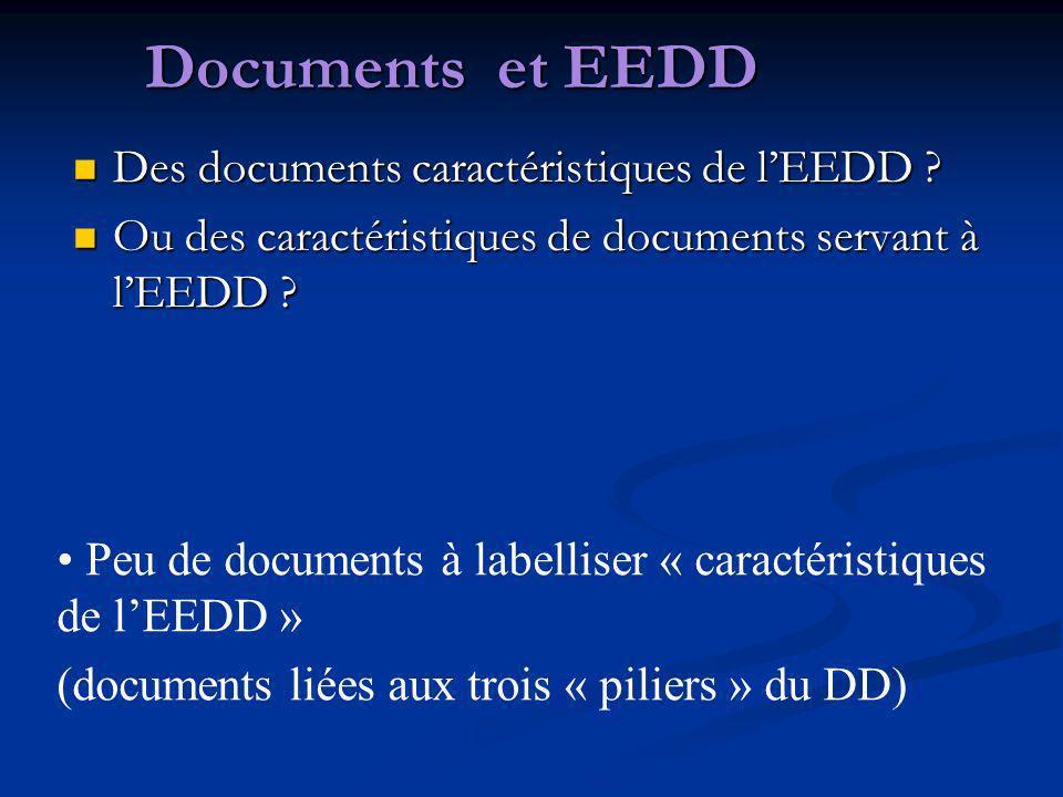 Documents et EEDD Des documents caractéristiques de l'EEDD