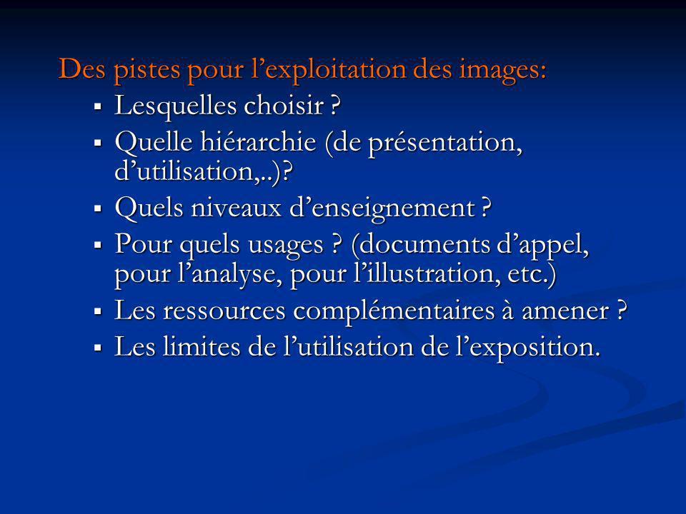 Des pistes pour l'exploitation des images: