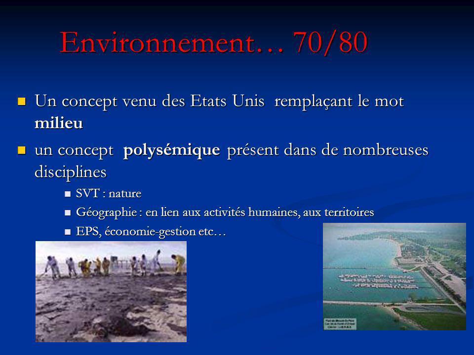 Environnement… 70/80 Un concept venu des Etats Unis remplaçant le mot milieu. un concept polysémique présent dans de nombreuses disciplines.