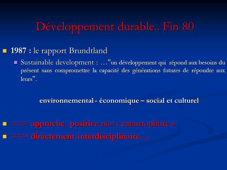 Développement durable.. Fin 80