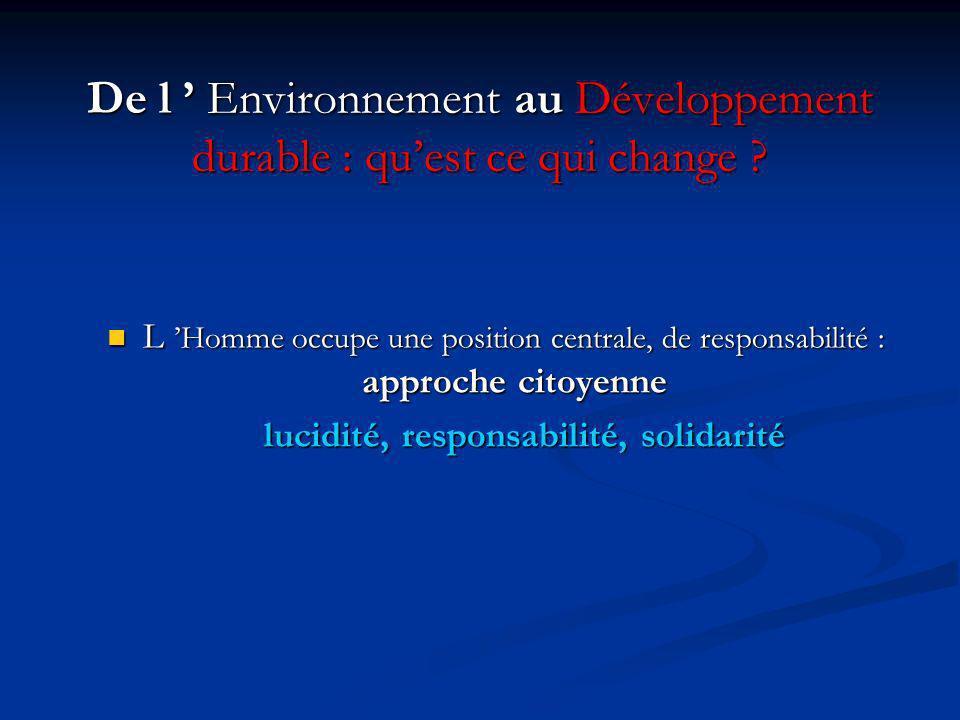 De l ' Environnement au Développement durable : qu'est ce qui change