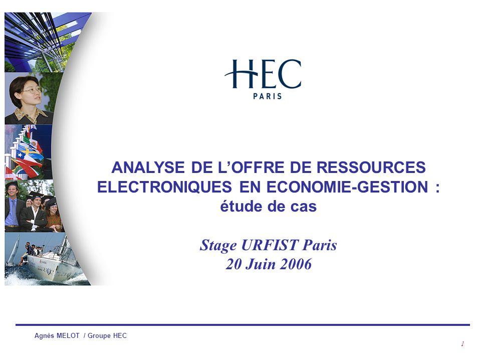 ANALYSE DE L'OFFRE DE RESSOURCES ELECTRONIQUES EN ECONOMIE-GESTION : étude de cas