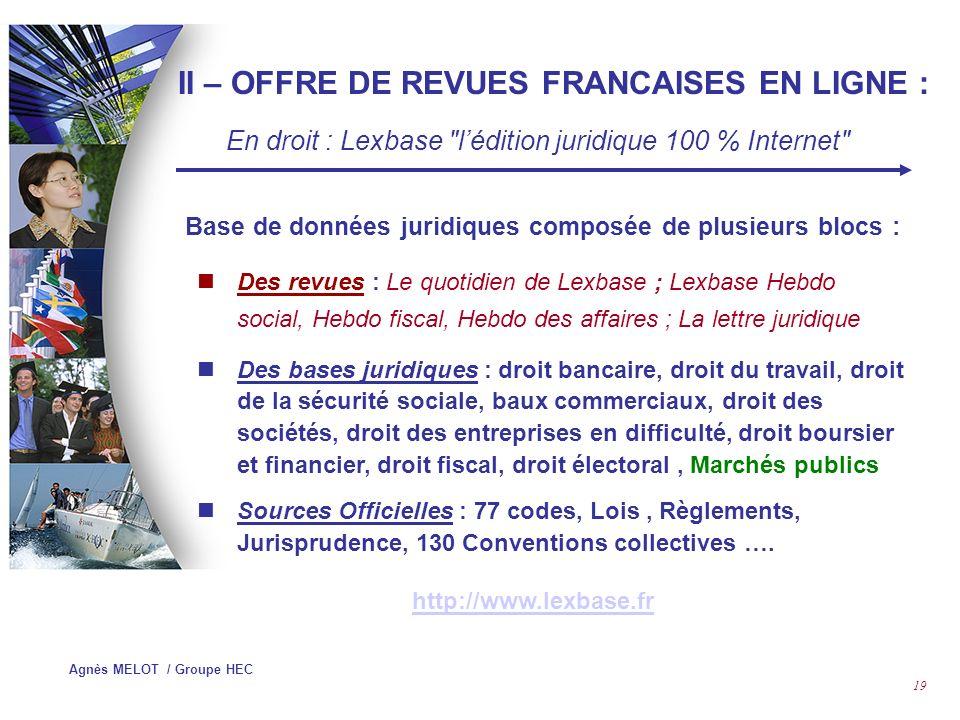 II – OFFRE DE REVUES FRANCAISES EN LIGNE :