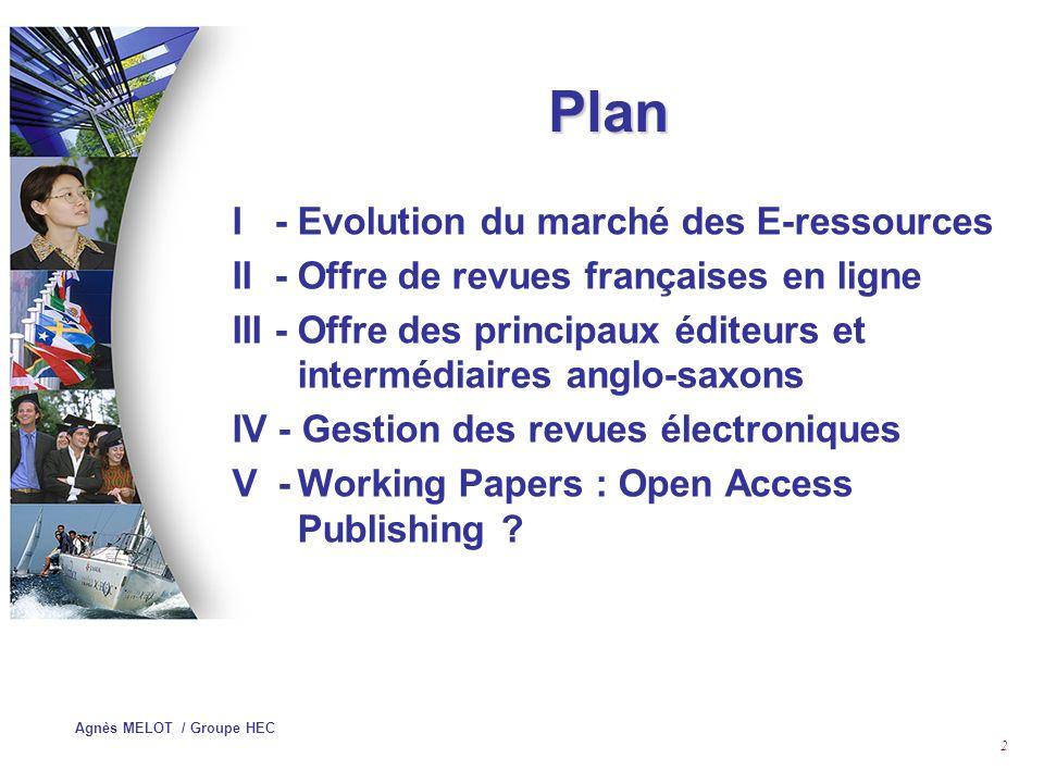 Plan I - Evolution du marché des E-ressources