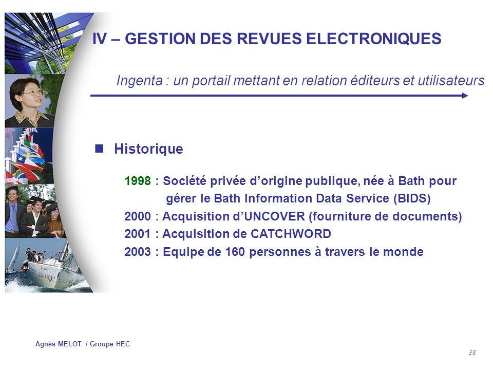 IV – GESTION DES REVUES ELECTRONIQUES
