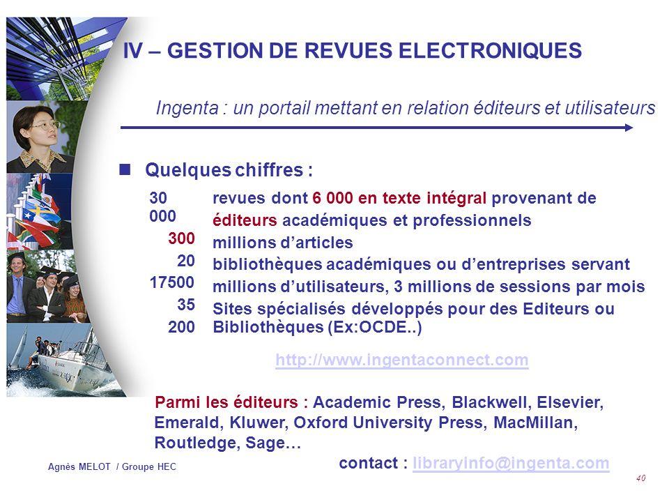 IV – GESTION DE REVUES ELECTRONIQUES