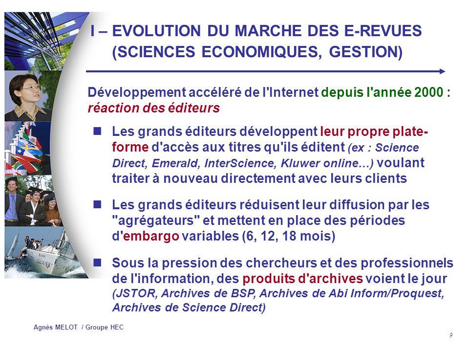 I – EVOLUTION DU MARCHE DES E-REVUES (SCIENCES ECONOMIQUES, GESTION)
