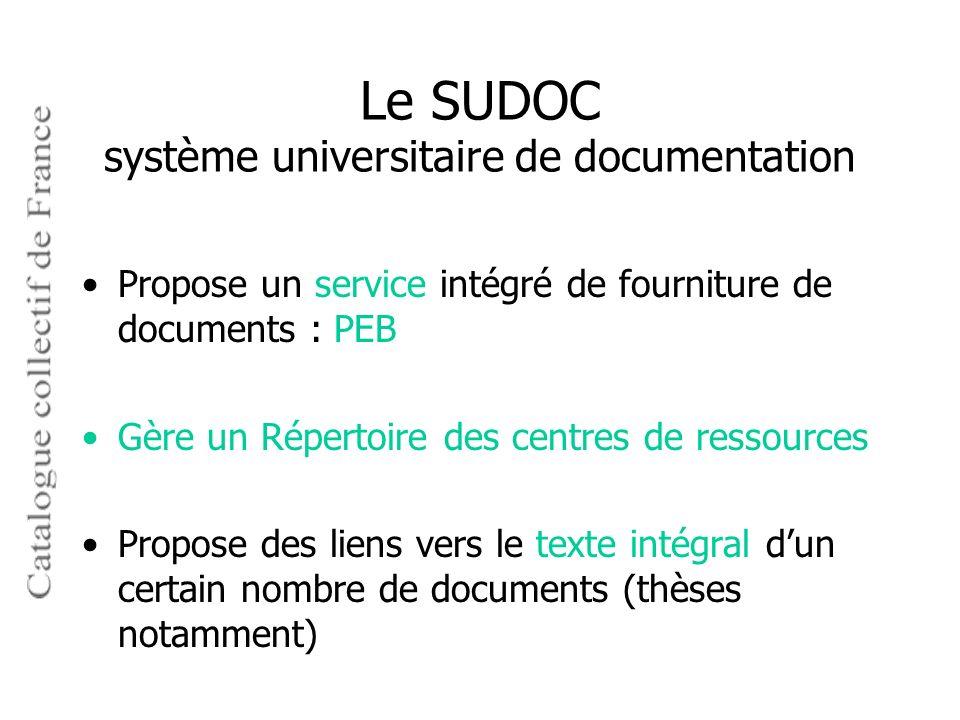 Le SUDOC système universitaire de documentation