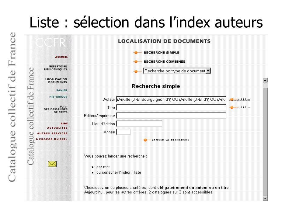 Liste : sélection dans l'index auteurs