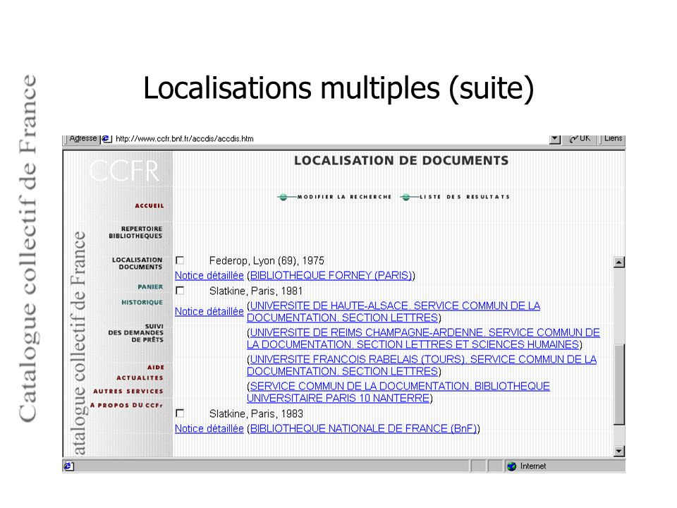 Localisations multiples (suite)