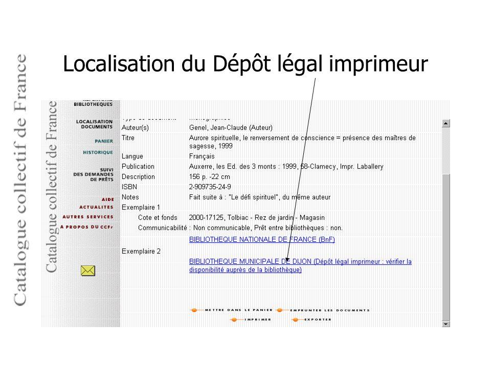 Localisation du Dépôt légal imprimeur