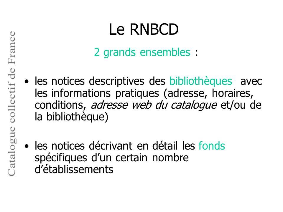 Le RNBCD 2 grands ensembles :