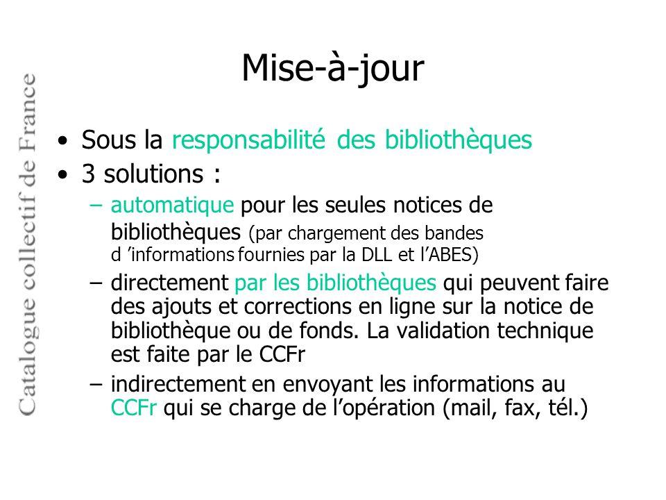 Mise-à-jour Sous la responsabilité des bibliothèques 3 solutions :