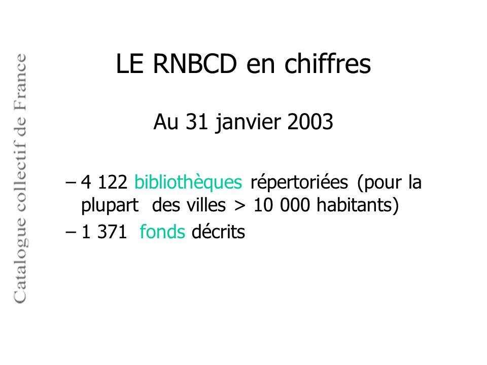 LE RNBCD en chiffres Au 31 janvier 2003