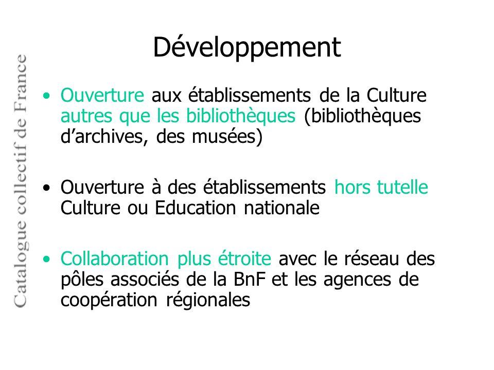 Développement Ouverture aux établissements de la Culture autres que les bibliothèques (bibliothèques d'archives, des musées)