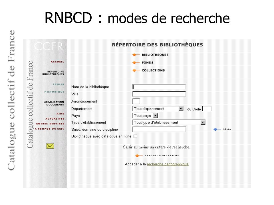 RNBCD : modes de recherche
