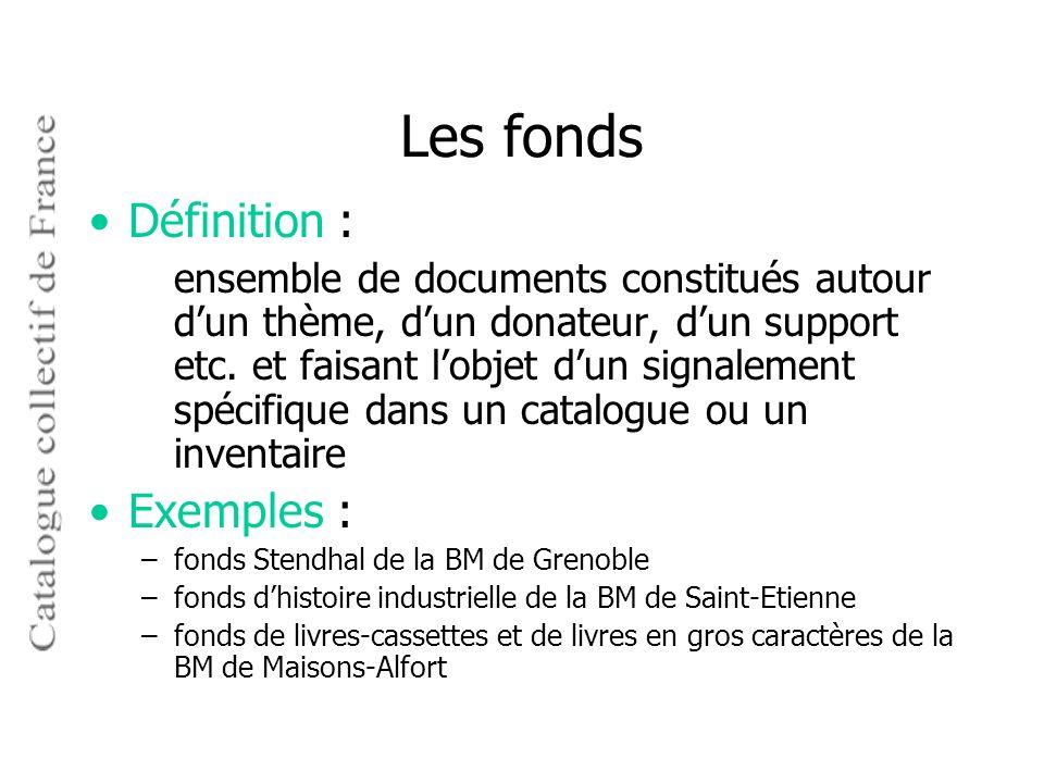 Les fonds Définition : Exemples :