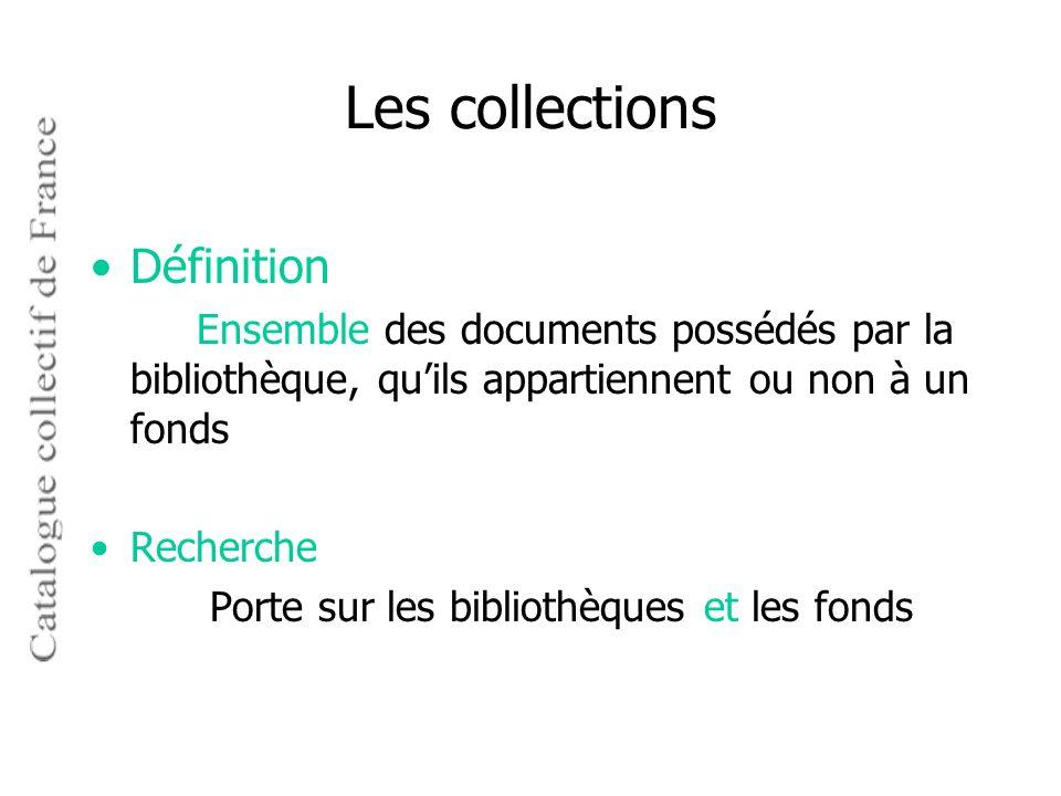 Les collections Définition Recherche