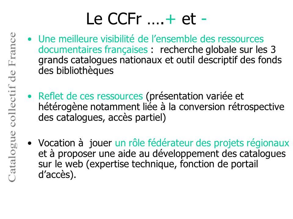 Le CCFr ….+ et -