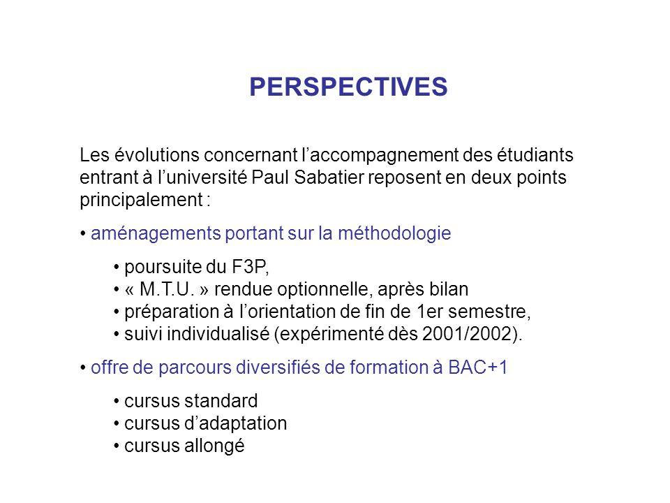 PERSPECTIVES Les évolutions concernant l'accompagnement des étudiants entrant à l'université Paul Sabatier reposent en deux points principalement :