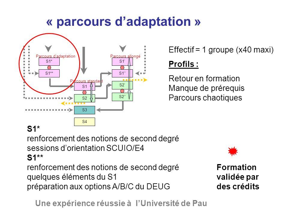 « parcours d'adaptation » Une expérience réussie à l'Université de Pau