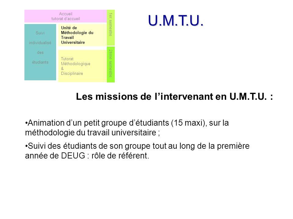 U.M.T.U. Les missions de l'intervenant en U.M.T.U. :
