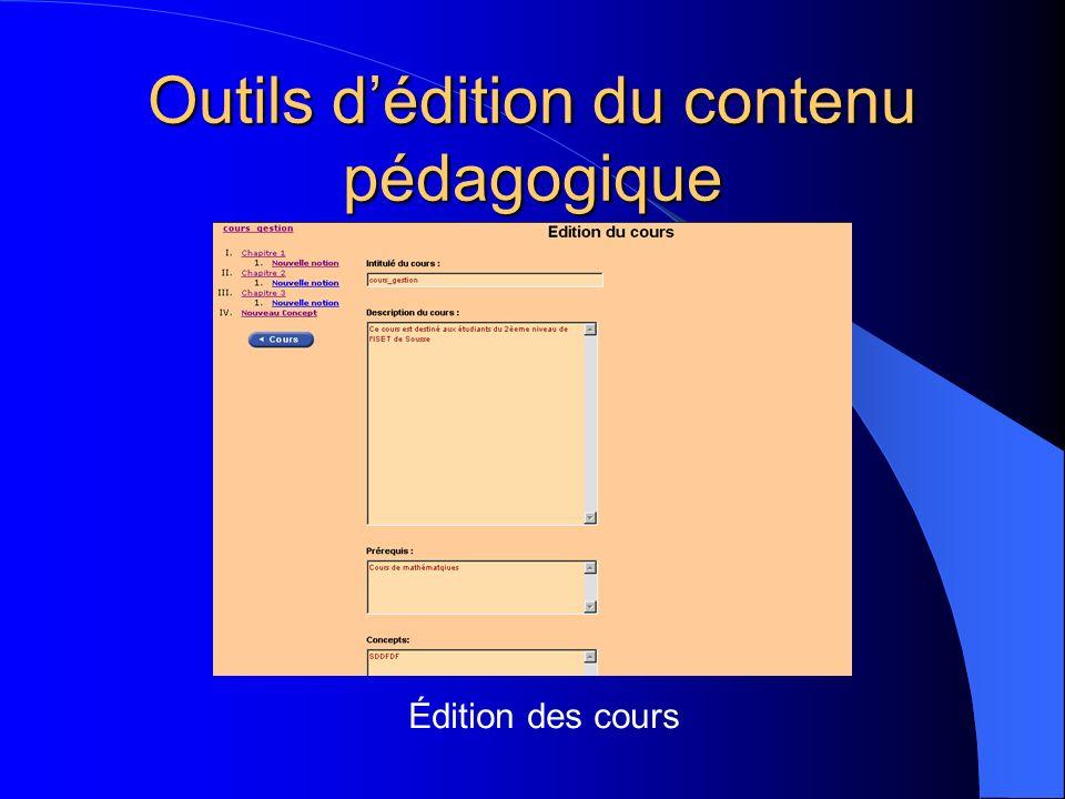 Outils d'édition du contenu pédagogique