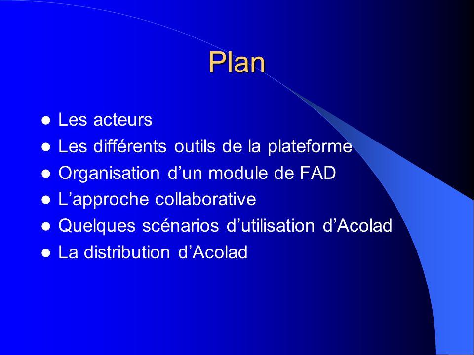 Plan Les acteurs Les différents outils de la plateforme